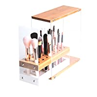 JackCubeDesign 31 Holes Acrylic Bamboo Brush Holder Organiser Beauty Cosmetic Display Stand with Leather Drawer(White, 22.3 x 8.6 x 21.5 cm) - :MK228D