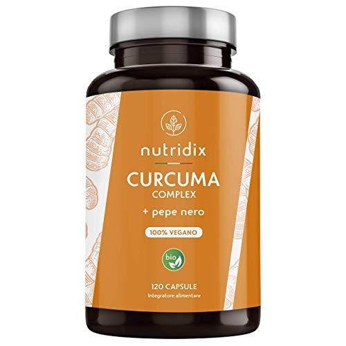 Curcuma Bio (650mg) con Pepe Nero (50mg) e Zenzero (10mg) | 120 Capsule Gastroresistenti | Integratore 100% Vegano | Curcuma Complex | Prodotto da Nutridix
