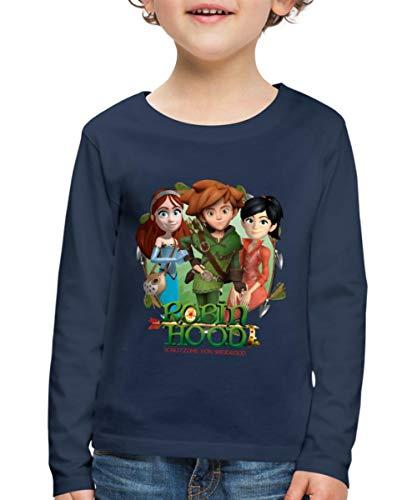 Spreadshirt Robin Hood Marian Und Scarlett Gruppenbild Kinder Premium Langarmshirt, 134/140 (8 Jahre), Navy