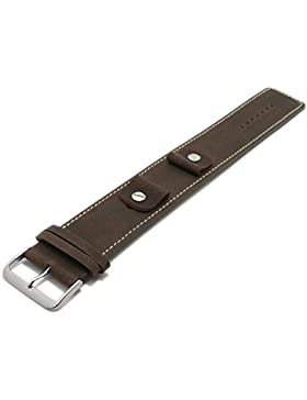 Meyhofer Uhrband Kassel Classic 14-16-18-20mm dunkelbraun Leder genarbt helle Naht Unterlagenband MyFcklb355/14...