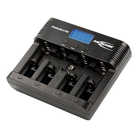 Ansmann Powerline 5 Pro Chargeur pour 1 à 4 piles rechargeables AAA/AA/C/D NiMH/NiCd/1 bloc 9V Noir