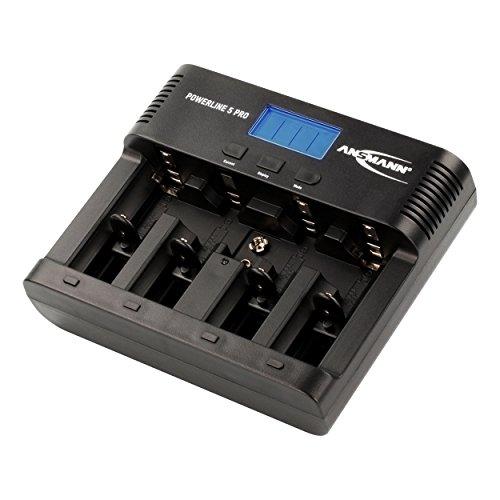 Ansmann Powerline 5 Pro Akkuladegerät/5-fach Ladegerät zum Laden, Entladen & Refreshen/Ideal für Akkus in den Größen AA, AAA, C, D & 9V/Mit USB-Port für Smartphone, Kamera & co.