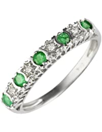 Ivy Gems 9ct White Gold Emerald and Diamond Stars Eternity Ring