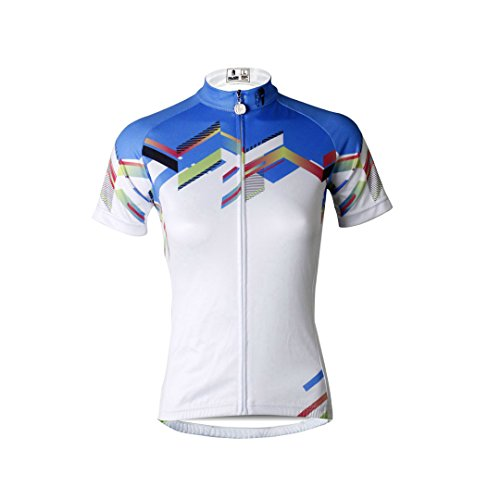 Women's Short Sleeve Cycling Jersey Jacket Moisture Wicking Outdoors Sports Shirt Quick Dry Breathable Mountain Clothing Bike Top White Multicolor Small (Short Cycling Lady Jersey Sleeve)