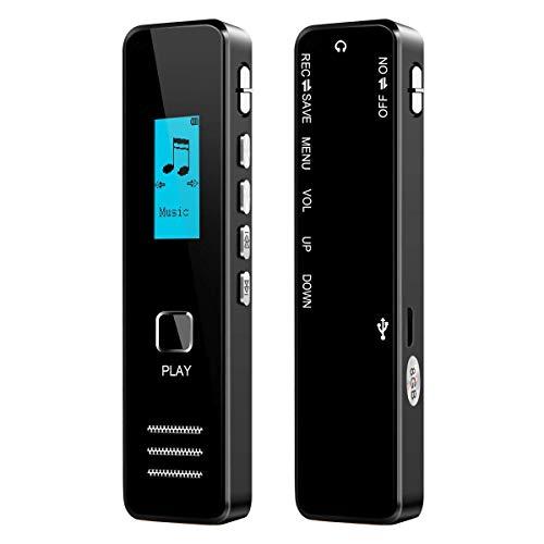 Sprachrekorder Aufnahmegerät Digitale Sprachrekorder für Vorlesungen Stereo-Kassettenrekorder MP3-Player 1536Kbps 8 GB LCD-Bildschirm MP3-Musik-Player USB-Festplatte für Office