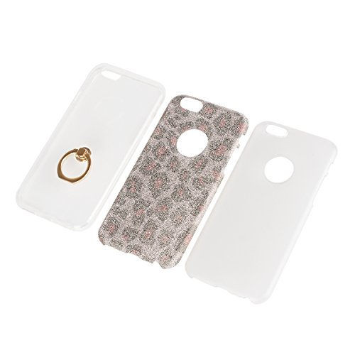 iPhone 6 6S Etui Coque, SHANGRUN 3 in 1 Scintillement Bling TPU Gel Silicone Etui Coque 360 Degres Rotating Métal Bague Ring Stand Holder Cover Coque avec Béquille Housse Étui pour iPhone 6 / 6S (4.7  Blanc