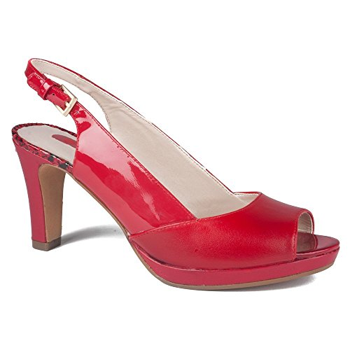 Blondo Velvet Cuir Talons red