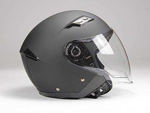 Jethelm mi Langvisier BNO Jet200 Motorradhelm Roller Helm Schutzhelm Matt Schwarz (XS-XXL) (S)