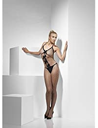 Smiffys Lattice Net Halterneck Body Stocking Crotchless with Keyhole Bow Detail - Parent