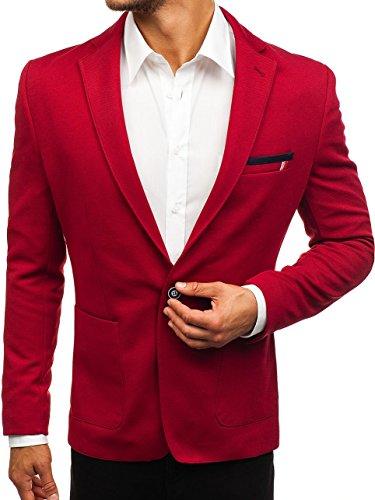 BOLF Herren Sakko Sweatjacke Slim Fit Blazer Anzug RIPRO 1652 Rot L [4D4] -