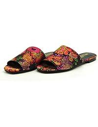 In sandali floreali con una spessa sandali sandali confortevoli, 35 EU, bianco latte