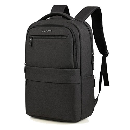 Aspen Business Laptop Rucksack für 15.6 Zoll Notebook Modern Design Computer Backpack Schultasche Herren und Damen Wasserdicht 25-30 L AS-B65 mit Gepäckriemen Schwarz -