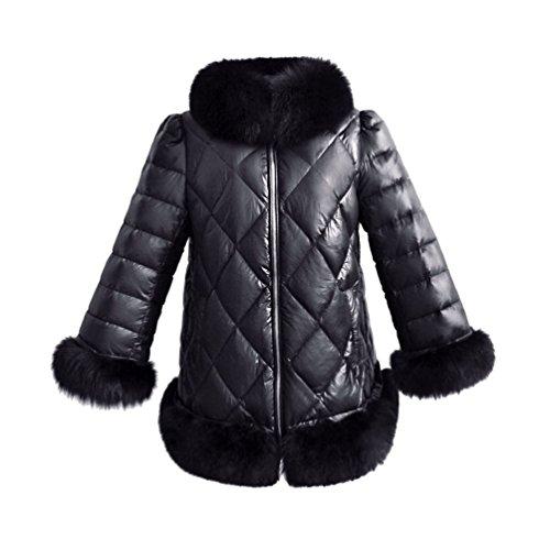 Yuandian donna autunno inverno casual imbottito cappotti con pelliccia sintetica collare caldo elegante giacche giubbotto con finta pellicce ecologica orlo e polsini nero l