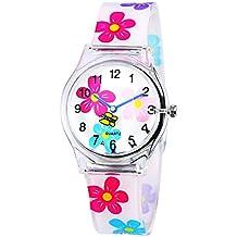 ZEIGER Reloj analógico para niña Reloj Deportivo resina de silicona de flores