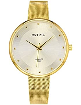 JSDDE Elegante Damen Armbanduhr Quarz Wasserdicht Schöne Zeitloses Design Uhr Mesh Metallarmband Quarzuhr,Gold