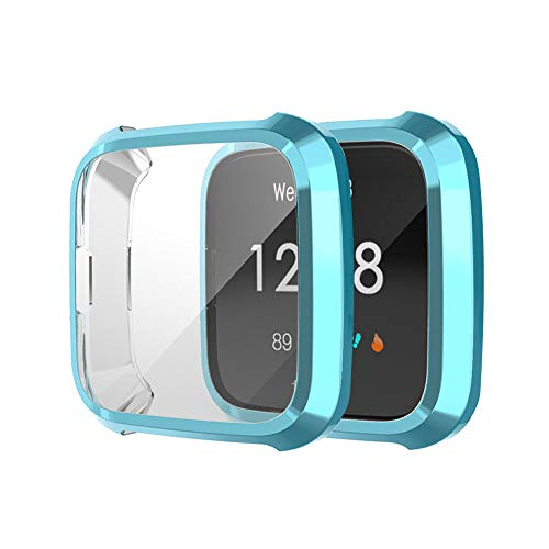 Für Fitbit Versa Lite Hülle Displayschutz,2 Pcs Ultra dünn Ultradünne TPU Stoßfest Präziser Ausschnitt Schutzhülle Rundherum Schutz Case Stoßstange Hüllenabdeckung Case (Blau)