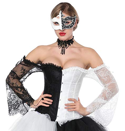 SZIVYSHI Femme Overbust Satin Dentelle Corset et Deguisement Top Bustier Noir et blanc -S(Tour de taillet:62cm)