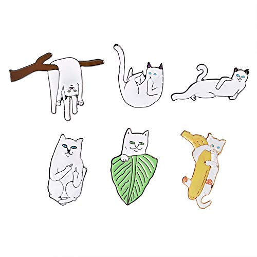 HDCooL 6 Pcs Enamel Pin Sets Cute Cartoon Brooch Needle Set White Cats Pin Badge Novelty Art Deco Jewellery Label Jacket Collar Backpacks DIY Accessories Gift for Woman and Girls