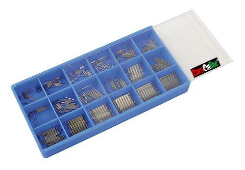 CursOnline Kit 900pièces de anse à double ressort pour montre Spring Bar en 18compartiments de 50pz pour mesure 8–25mm Diamètre 1.5mm mod.415–15