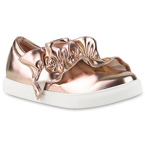 Damen Slipper Sneakers Slip-ons Lederoptik Schuhe Schleifen Rose Gold Gold Glanz