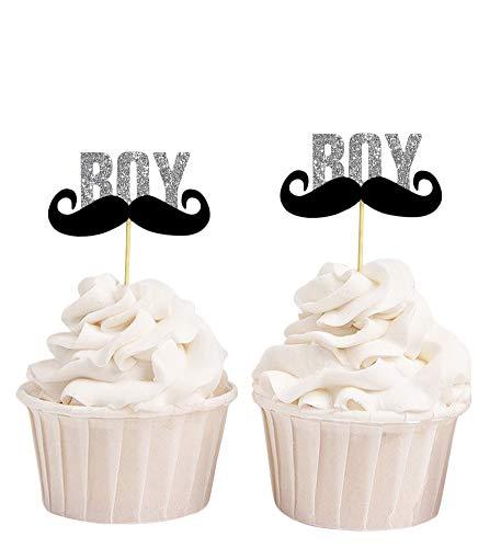 Darling Souvenir, Babyparty Sein EIN Junge Schnurrbart-Kuchen-Deckel, Geschlecht Decken Party Dessert Dekoration - Packung mit 40 (Schnurrbart-kuchen-deckel)