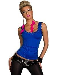 5642 Fashion4Young Damen Träger-Top Spitze Shirt