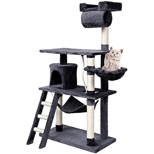 Wellhome Árboles para Gatos con Hamaca Multifuncional 141cm Gris