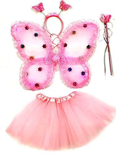 (Tante Tina - Schmetterling Kostüm für Mädchen - 4-Teiliges Set - Feenflügel / Schmetterlingsflügel Verkleiden - Rosa mit Rüsche)