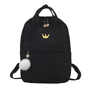 OYSOHE Mädchen Rucksack,Canvas Schultasche Student Rucksack mit Hairball Satchel Travel Schultertasche by