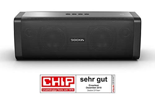 DOCKIN D FINE+ Hi-Fi Bluetooth Speaker - Lautsprecher für Indoor/Outdoor, 50 Watt, Wireless, einfach tragbar, wassergeschützt, starker Akku, 14 Stunden exzellenter Sound, schwarz