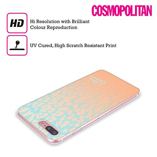 Official Cosmopolitan Peach Leopard Pastels Soft Gel Case for Apple iPhone X Blue Peach Leopard