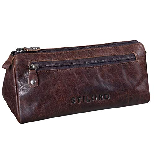 Stilord 'alexis' astuccio pelle vintage per penne grande portapenne con cerniera in cuoio portacolori per scuola, colore:espresso - marrone