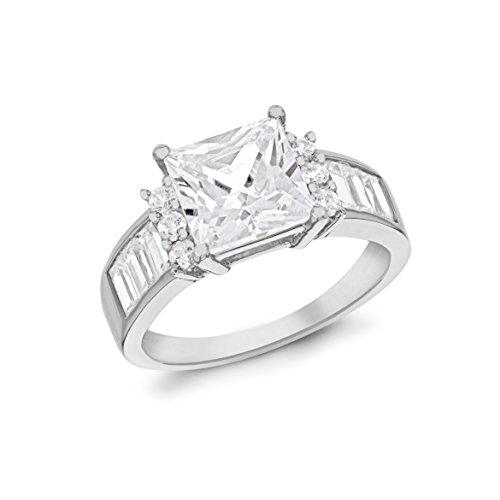 Rhodiniert Sterling Silber Quadratschliff und Baguette Cut Weiß Zirkonia - Größe P (Baguette Modeschmuck)