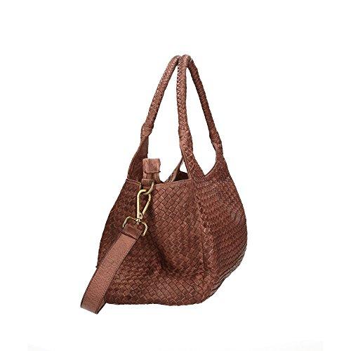 CTM Femme Sac à bandoulière Tressé Vintage Style avec bandoulière en cuir véritable made in Italy - 38x26x15 Cm Boue