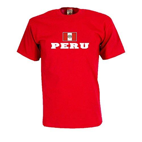 T-Shirt PERU Flagshirt bedrucktes Fanshirt, Flagge und Schriftzug Geschenk Andenken für Besucher Gäste Fans (WMS02-47a) Mehrfarbig