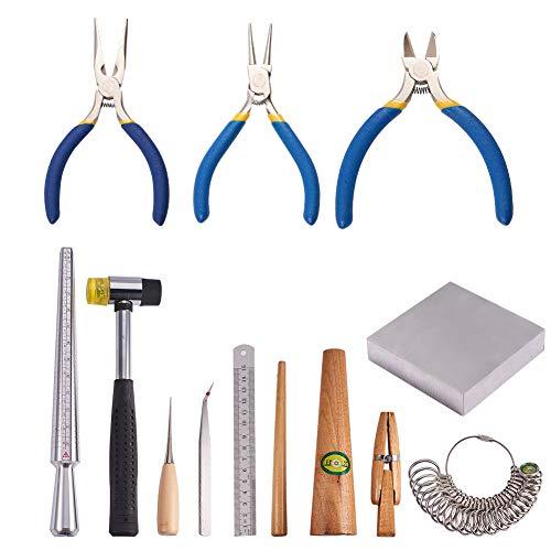 PandaHall Elite 12 Stück Schmuck Machen Werkzeuge, Hammer/Amboss/Ring Clamp/Lineal/Stick/Sizer/Ahlen/Pinzetten/Side-Cutting Zange/Nase Zange für Schmuck Machen