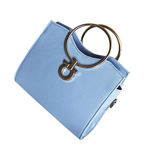 Longra Sacchetto di spalla unica del cuoio del cerchio del ferro di colore solido dell'unità di elaborazione delle donne Blu