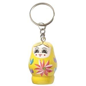 Porte clefs en bois peint motif poupée russe matriochka jaune