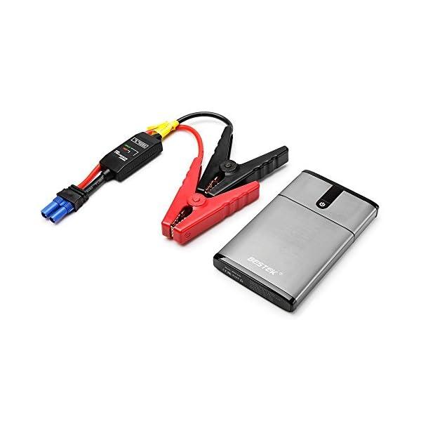 BESTEK 5400mAh Arrancador de Coches Booster de Batería Portátil Multifuncional Jump Starter Cargador de Batería Eléctrico de Emergencia con Puertos USB para Coche Camión Motocicleta con Lampara LED
