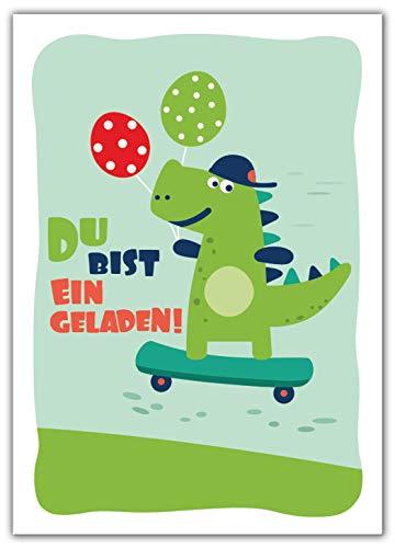 (12 Einladungskarten zum Kindergeburtstag Jungen Jungs Mädchen Dinosaurier Einladungen Geburtstag Kinder)