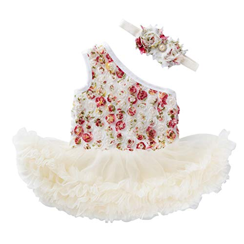 y Mädchen Kleid Blume Drucken Kleider Tüll Tütü Urlaub Prinzessin Sommerkleid Kleidung + Stirnband Outfit Setzen ()