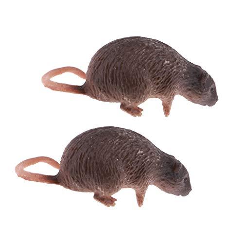 B Blesiya 2 PCS 1: 6 Kleine Kunstoff Ratten Maus Figuren Modell für 12 Zoll Actionfigur