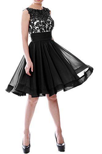Belted Petite-shorts (MACloth Women Beaded Lace Chiffon Short Prom Formal Dress Cocktail Party Gown (Custom Size, Schwarz))