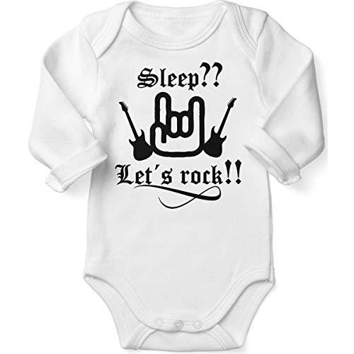 Mikalino Babybody mit Spruch für Jungen Mädchen Unisex Langarm Sleep let s rock | handbedruckt in Deutschland | Handmade with love, Farbe:weiss, - 60's Rock Star Kostüm
