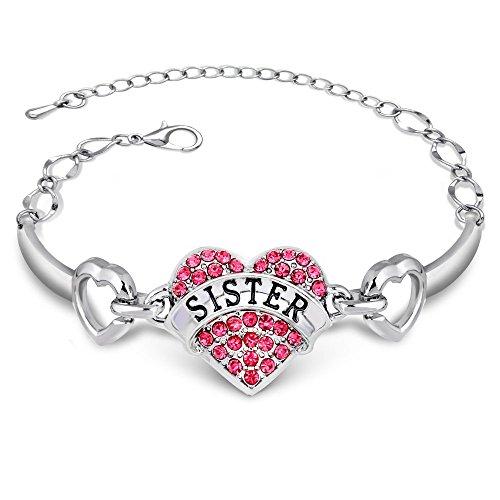 Bracelet et Breloque de cristal en forme de cœur, disponible en 3couleurs, cadeau pour sœur plus grande ou petite, bijoux pour filles Sister Pink