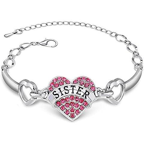 3 colori a forma di cuore, con cristalli, a forma di Braccialetto regalo per Middle Little Big Baby Sister