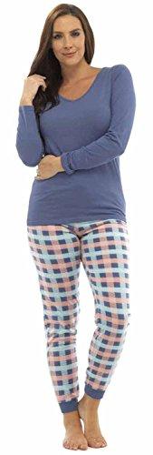 Lora Dora Damen Schlafanzug Large Blue Top/Pink Multi Pants