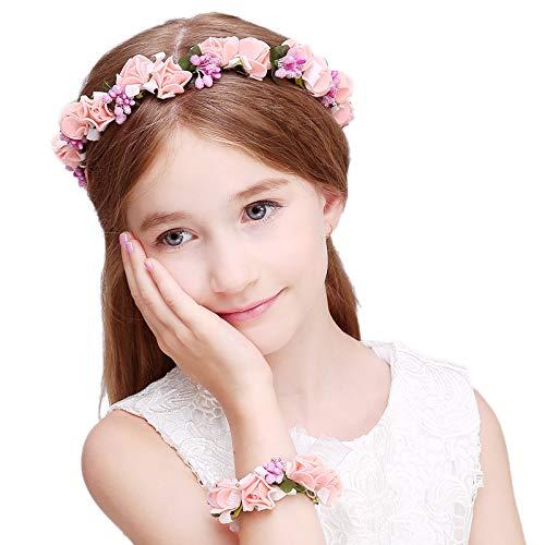 Kercisbeauty Diadem für Hochzeiten, Rosen, Blumenkranz, Blumenkranz, für Mädchen und Mädchen, Blumen, Krone, Haar-Zubehör für Braut, Brautjungfern Blumen, Bälle, Halloween-Party
