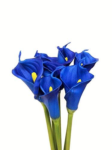 FRP Blumen Calla-Lilienblumen für Büro, Heimdekoration, Blumengestecke und Brautsträuße (6 Stück) Pacific Blue -