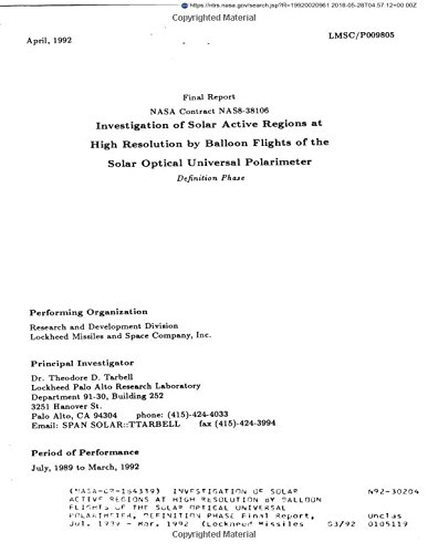 Investigation of solar active regions at high resolution by balloon flights of the solar optical universal polarimeter, definition phase